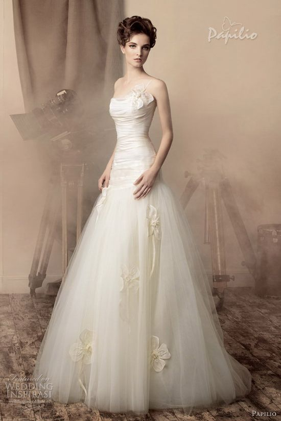 papilio bridal 2013 loretta one shoulder strap wedding dress