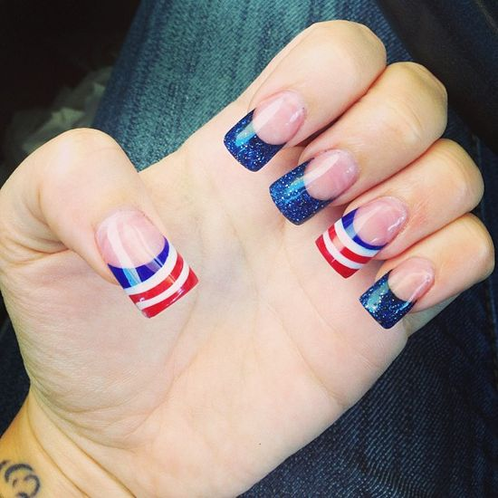 echorachelle's festive tips. Show us your 4th of July-inspired nails! Tag your pic #SephoraNailspotting to be featured on our social sites.