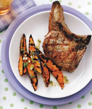 Grilled Pork Chops With Maple Syrup Sweet Potatoes by realsimple: 20 minutes! #Pork_Chops #Sweet_Potatpes #realsimple