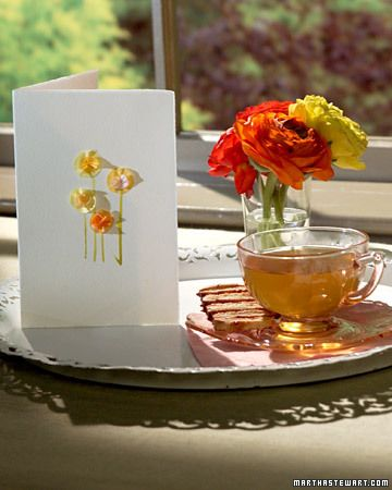 card with tissue flowers