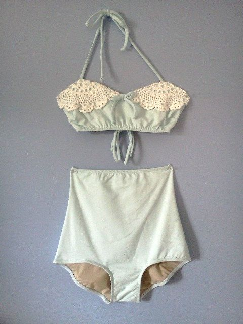 Limited edition Baby Blue retro doily bikini