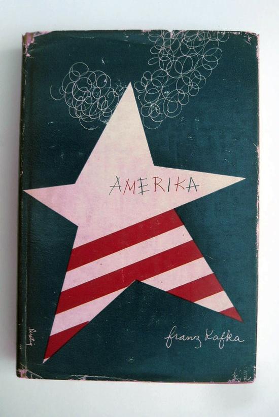 "Alvin Lustig's original cover for Kafka's""Amerika"" (New Directions/New Classics)"