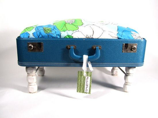 Blue Lagoon Pet Bed Vintage Suitcase UpCycled / by Number2PenSo, $68.50