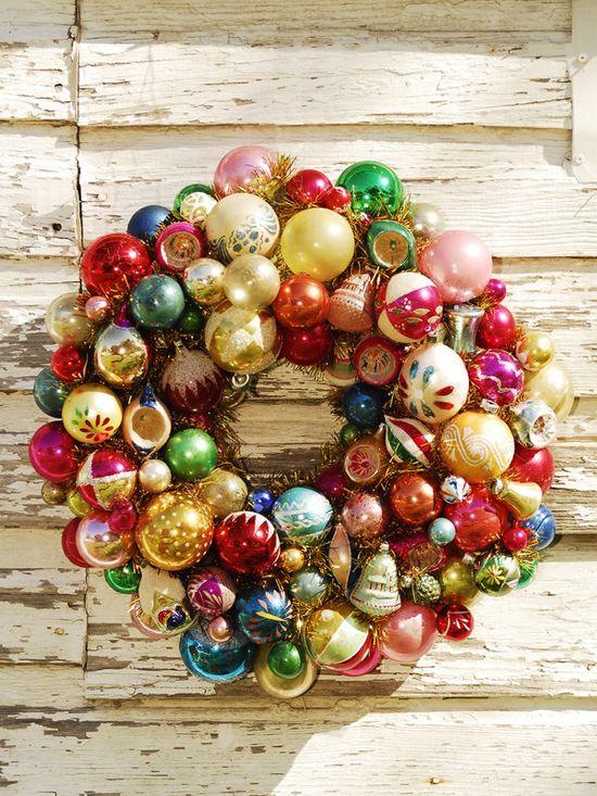 Ornament wreath - so cute! Great way to use broken ornaments.