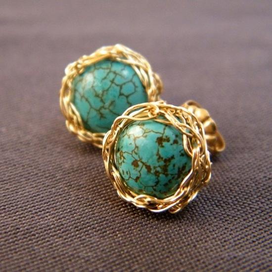 Crochet gold & turquoise