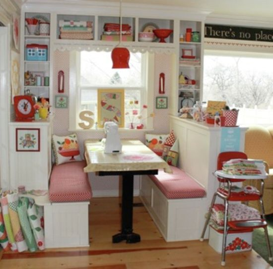 Retro-kitchen Inspired Storage // cozy little nook The white walls act like a ca