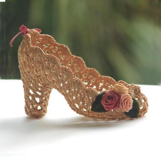 Crochet Shoe High Heel Pump