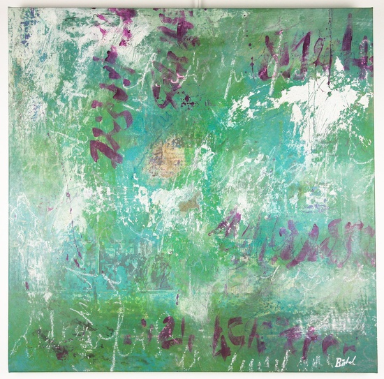 Original Abstract art textured green purple and Modern Artwork on canvas Ready to hang - by Florence Bisbal