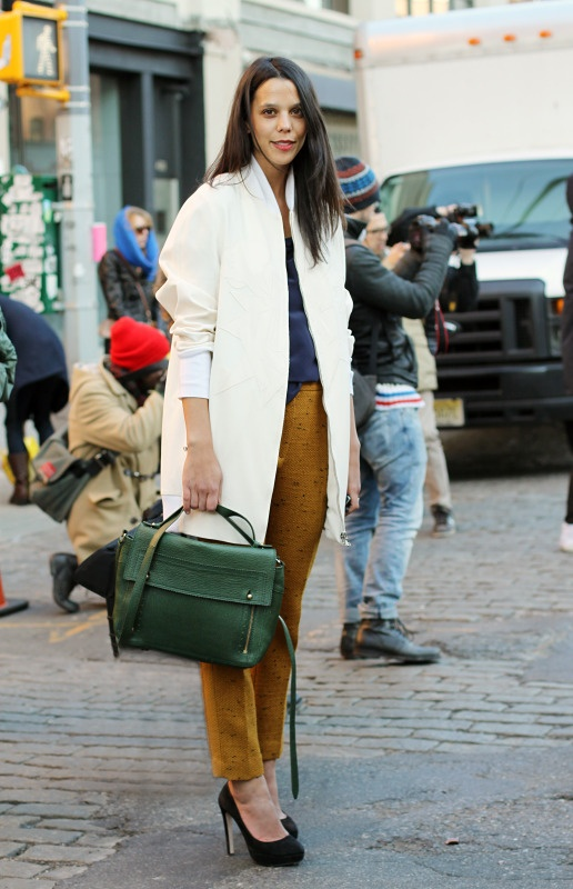 Love the neutral coat with winter colours