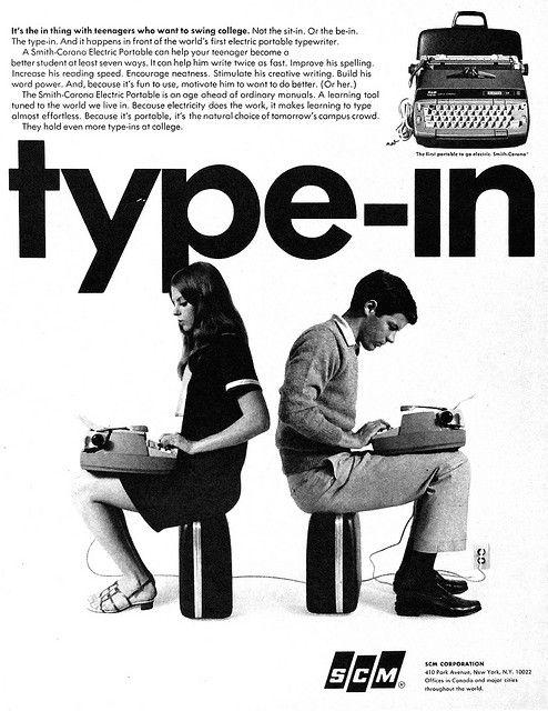 Early Laptops. SCM Typewriter Ad, 1967