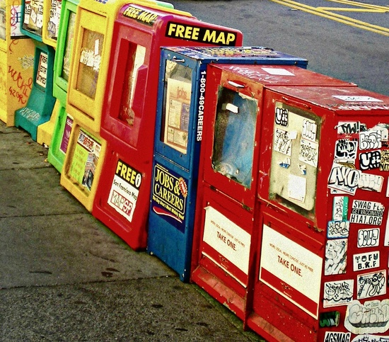 Paper stands in San Francisco