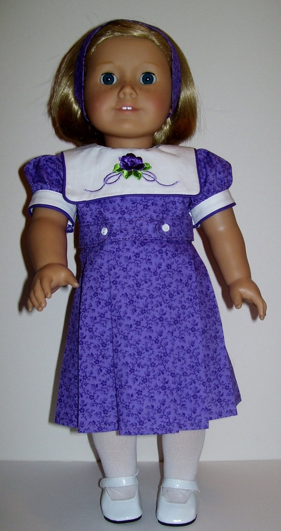 Purple dress and headband fit American Girl and similar 18 inch dolls. $25.00, via Etsy.