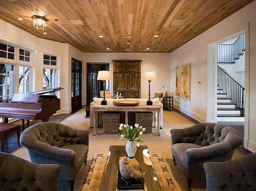 beautiful neutral, natural room & great wood ceiling