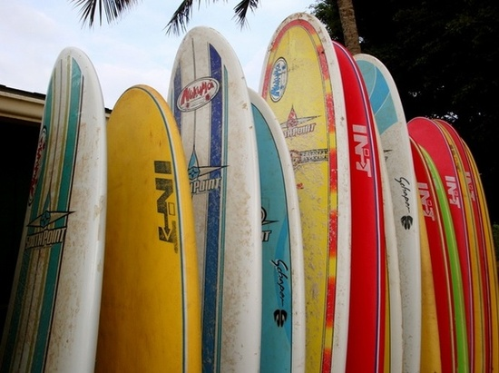 Surfboards in longboards and shortboards in colourful canvas. / Handmade and vintage surfboards / iHero on Fuseink
