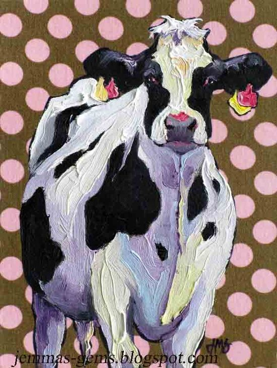 Cow Art Print -From Original Oil Cow Painting- Holstein Cow Art - 10 x 8 by Jemmas Gems