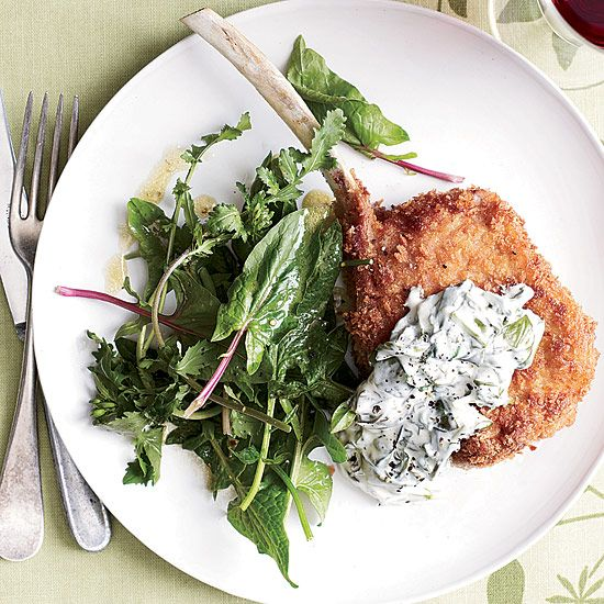 Panko-Crusted Veal Chops with Sorrel Cream // More Veal Recipes: www.foodandwine.c... #foodandwine