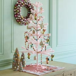 A pink feather Christmas tree!