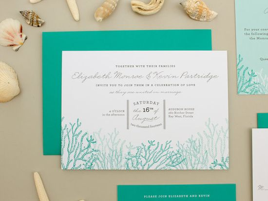 Beach Wedding Invitations, destination wedding invite, coral reef invitation