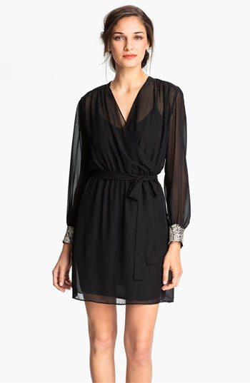 Donna Morgan Sequin Cuff Surplice Chiffon Dress available at #Nordstrom