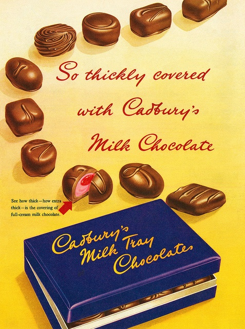 This 1950s Cadbury Chocolate ad is really stirring up my sweet tooth! :) #food #chocolate #1950s #ad #vintage