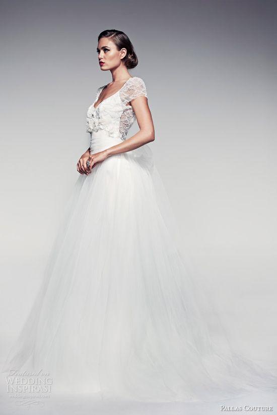 pallas couture wedding dresses 2014 fleur blanche bridal maiya short sleeve detachable tulle skirt ball gown