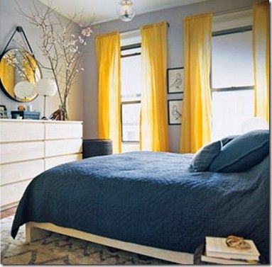 Blue with Yellow bedroom decor