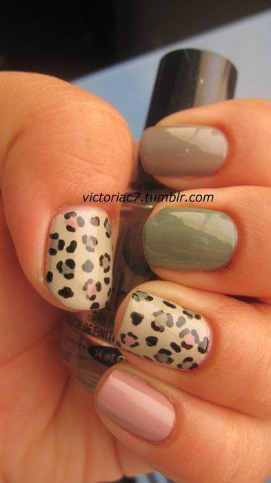 leopard neutral nails