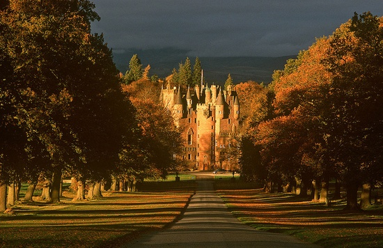 Glamis Castle is situated beside the village of Glamis in Angus, Scotland. It has been the home of the Lyon family since the 14th century, though the present building dates largely from the 17th century. Glamis was the childhood home of Elizabeth Bowes-Lyon aka Queen Elizabeth The Queen Mother.