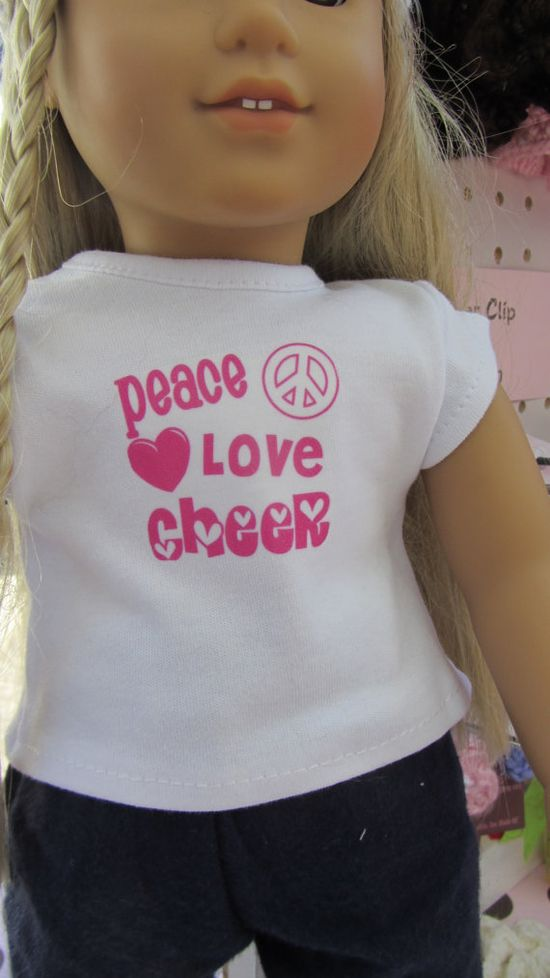 18 American Girl doll Peace Love Cheer tshirt by sugarspicecrafts, $6.00