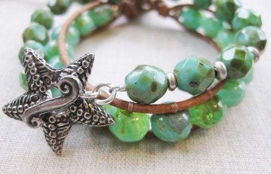 Green & Silver Starfish + single leather wrap coastal bracelets by SeaSideStrands