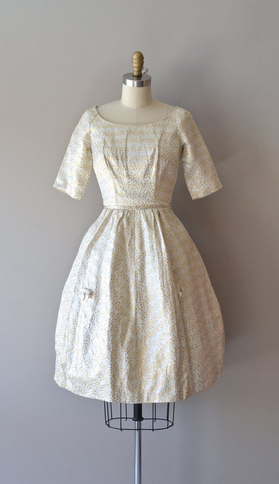 1950s dress / vintage 50s dress / Bryter Layter metallic dress