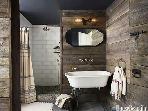 Barn bathroom ideas via House Beautiful