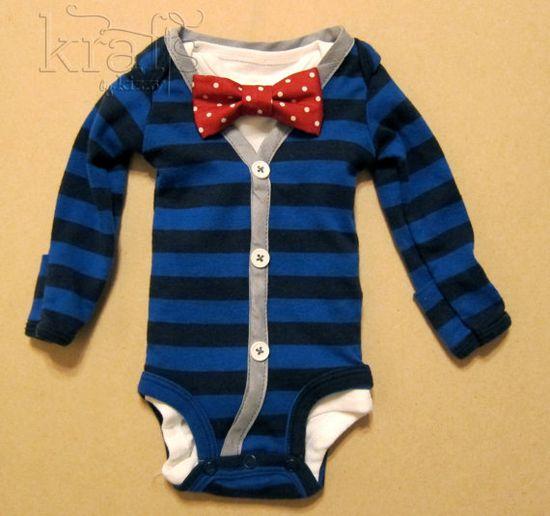 Baby Boy Outfit  Blue/Blue Stripe with Gray by KraftsbyKizzy