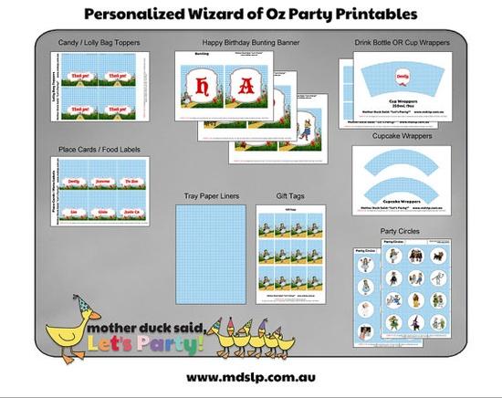 Wizard of Oz Birthday Party Printables
