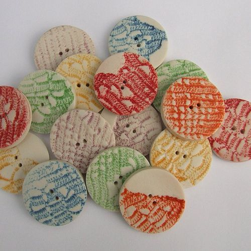 Porcelain Ceramic Round Button with Lace Print  by melissaceramics, £2.00  See my blog about these buttons  www.melissachoros...  #handmade #buttons #craft #diy #embellishment #scrapbook