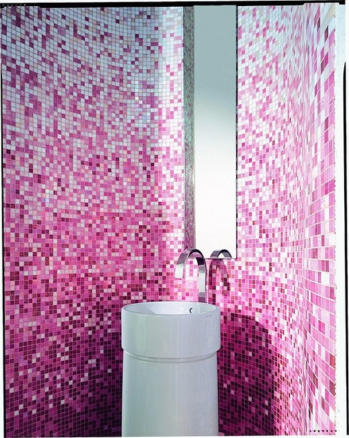 Pink mosaic bath...