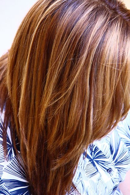 Warm Brown with blonde and honey highlights.