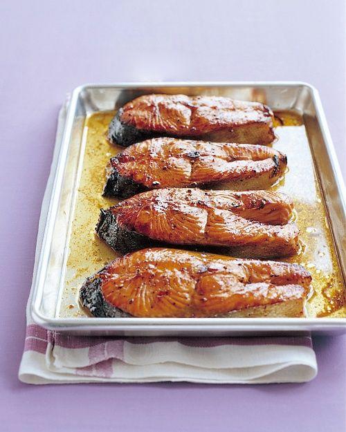 Salmon Steaks with Hoisin Glaze by marthastewart: 5 minute prep! #Salmon #Hoisin #Healthy