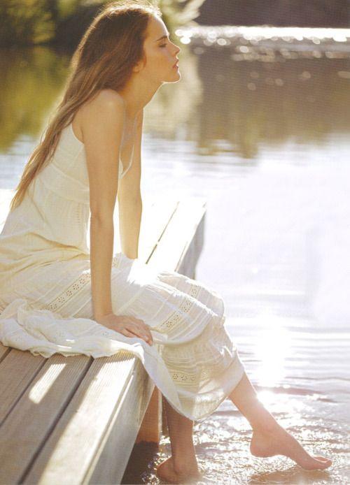 white dress with eyelets, summer morning still