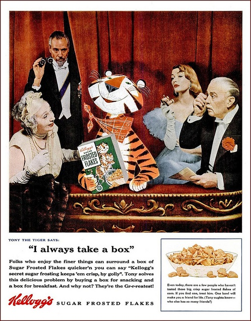 Quite possibly the ritziest Frosted Flakes ad ever! :) #vintage #ads #food #cereal #1950s #fifties #posh #opera