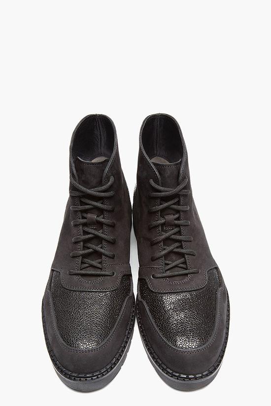 ALEXANDER WANG Black Nubuck & Stingray Kaleb Boots