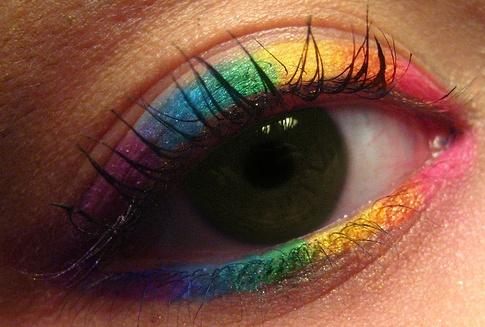 Rainbow eyeliner.