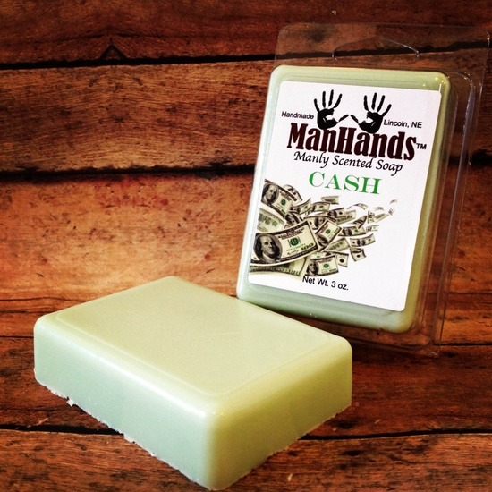 Manhands - Manly Scented Soap. Tons of scents! Cash(above), bacon, top soil, buttered popcorn, urinal mint, fresh cut grass + more.  Yes please! $5.95, via Etsy.