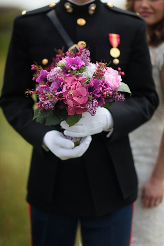 how pretty is this bouquet? we think INSANELY pretty and the groom in uniform is a keeper too  Photography by jasminestarphotog..., Flowers by thetreasuredpetal...