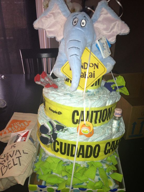 Construction baby boy diaper cake