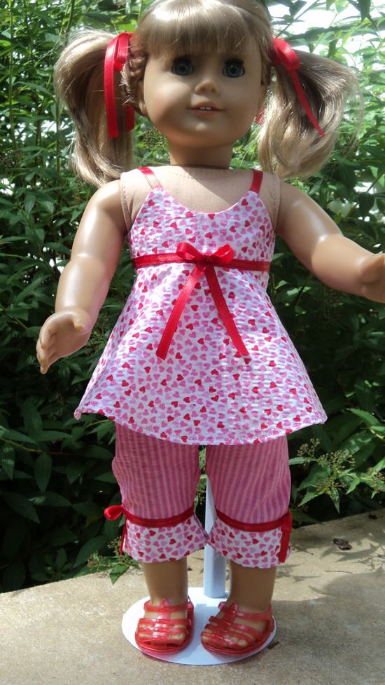 American Girl doll clothes  Pink/Red Capri Top & by susiestitchit, $18.00