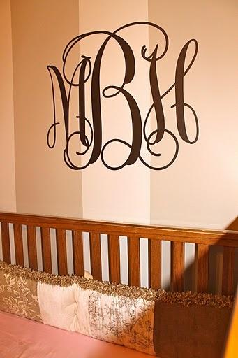 pink beige brown baby girl nursery monogram up close.