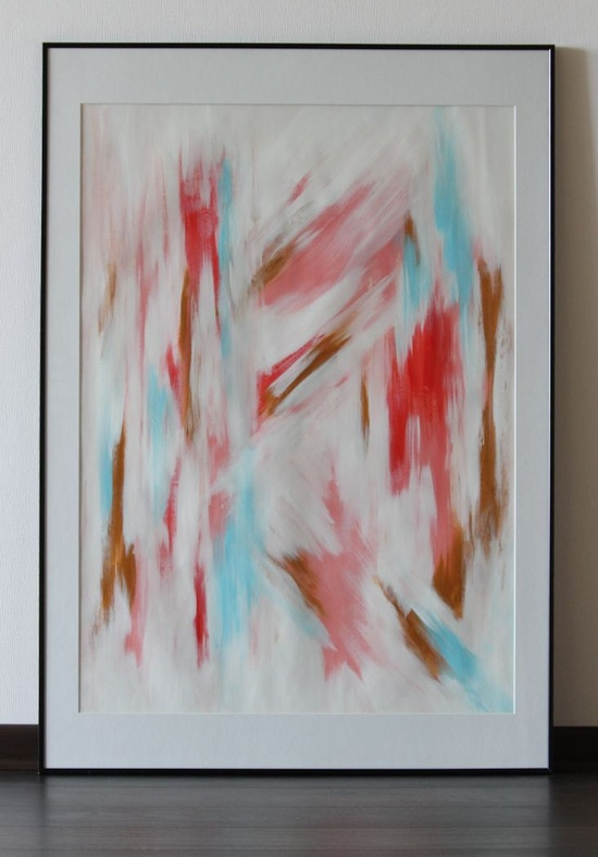 Original acrylic abstract painting on paper Pink and gold, large abstract art  24 x 33.9 inches. $36.00, via Etsy.    ----BTW, Please Visit:  artcaffeine.imobi...