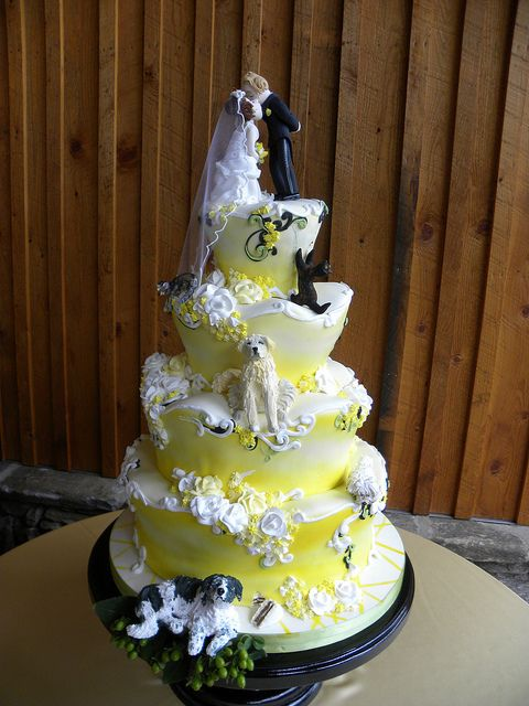 Whimsy Yellow Wedding Cake - Tiffany's Baking Co.