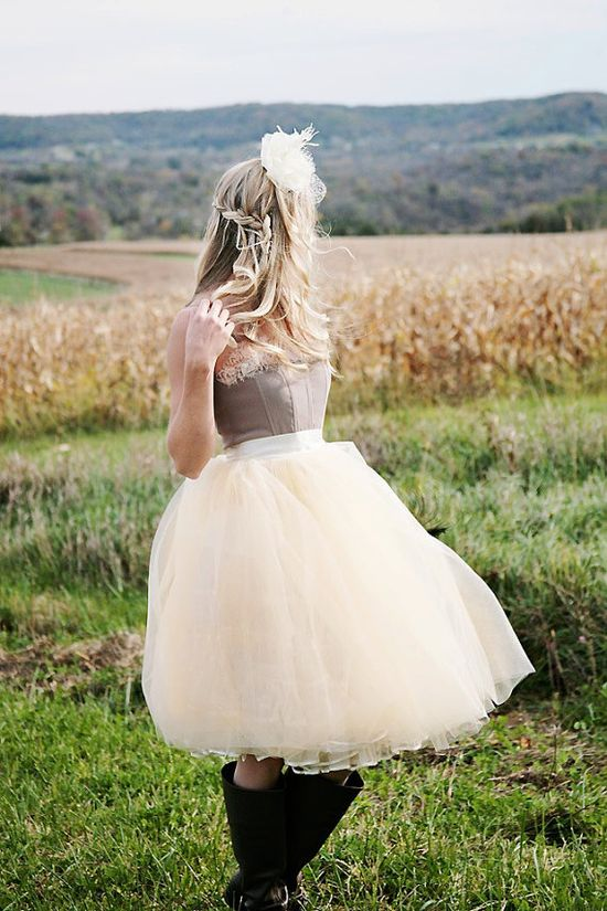 Beige tulle  tutu skirt with ivory satin by TutusChicBoutique, $100.00
